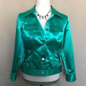 Chico's Green Satin Bomber Jacket